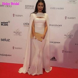 Wholesale Beautiful Simple Dresses - Beautiful Celebrity Evening Dresses Mermaid 2017 with Arabic Cape Simple and Elegant Sleeveless Floor Length Prom Gowns