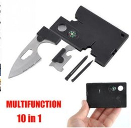 Wholesale Multi Purpose Pocket Knives - New Arrival 10 in 1 Multi Purpose Pocket Credit Card Survival Knife Outdoor Hunting Camping Tools 63LM Christmas Gift