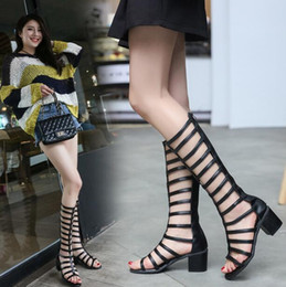 Wholesale Open Toe Flat Women Boots - New Fashion Women's chunky heels Shoes British Pumps Ladies Sexy Long Boots Peep toe Sandals