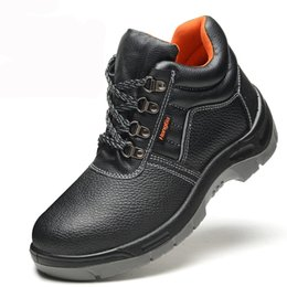 Wholesale Work Welding - Wholesale- 2016 New Breathable Men Work&Safety Shoes Genuine Leather Male Welding Shoes Steel Toe Wear-Resistant Waterproof Men Ankle Boots