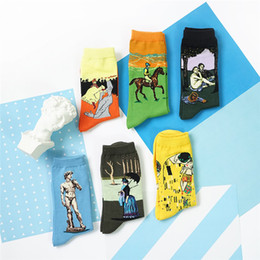 Wholesale Art Abstract Painting Oil Lover - Wholesale- 2015 New Abstract Oil Painting Long Socks Men and Women Novelty David Sculpture Art Socks Crazy Lovers Pure Cotton In Tube Sock