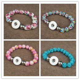 Wholesale Custom Bead Bracelets - 18MM Snap Ceramic Beads bracelet and bangles jewellry for gift customs diy making accoessories