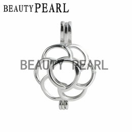 Wholesale Slide Mount - 5 Pieces Pick A Pearl Locket Wish Love 925 Sterling Silver Flower Cage Pearl Mount Pendant