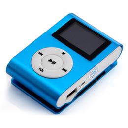 Wholesale Mini Clip Mp3 Recorder - Wholesale- 2017 Mini Clip USB MP3 Music Player LCD Screen Digital MP3 Support 32GB Micro SD TF Card Metal Blue