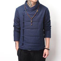 Wholesale Chinese Style Coat Men - Wholesale- Chinese style vintage winter coat men wadded jacket Buddhism outerwear Oblique placket buttons parka khaki blue black color