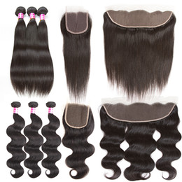 Canada Cheveux bruns brésiliens Straight Body Wave Weft 3 Bundles avec dentelle Fermeture ou oreille à oreille Relief Frontal Hair Hair Extensions Weave Bundles human hair extensions weaves on sale Offre
