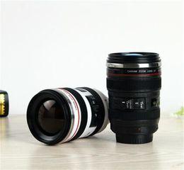 Câmera de aço inoxidável caneca de café on-line-Lente da câmera caneca de 400 ml de aço inoxidável copo de café melhor presente para canon thermos café leite chá xícara de água