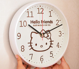 Wholesale Cartoon Wall Clocks - Wholesale- Kawaii 12Inch Hello Kitty Round Shape Home Wall Clock