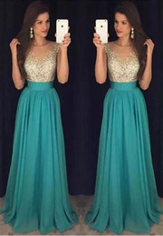 Wholesale Sparkle Royal Blue Dress - Hunter Green Gorgeous Prom Dresses 2017 Sparkling Beads Top Jewel Neck with Crystal A Line Evening Party Gowns Vestido De Soiree BA6019