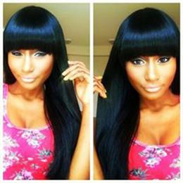 Wholesale black wig straight long bangs - Silky straight full wig simulation brazilain human hair long silky straight full wig with bangs