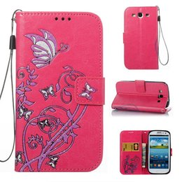 Wholesale S3 Flip Case Retail - Hot sale Wholesale and Retail Fashion Colorful Butterfly Flowers Flip Leather Wallet Case For samsung galaxy S3 I9300