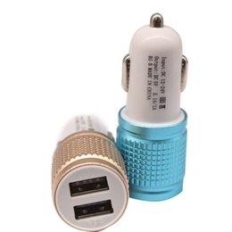 Wholesale One Usb Mobile - Mobile Car Charger Universal Dual USB Cigarette Lighter Power One Tail Two Car Charger is free shipping.