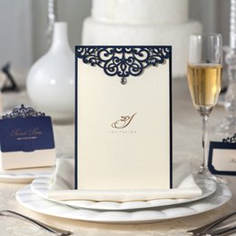 Wholesale Menu Wedding - Wholesale-Free Shipping 10pcs Laser Cut Wedding Invitations Menu Wishmade Convite Casamento Event & Party Supplies CM502