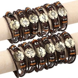 Wholesale Metal Wristbands For Men - Twelve Constellations Leather Wrap Bracelets Wristbands Metal Charm Bracelet Bangles For Men Women Jewelry Gift Free Shipping