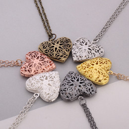 Wholesale Heart Locket Photo - metal charms locket heart shape memory lockets floating photo necklace love gift