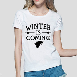 Wholesale Winter Women Tee - Wholesale- Winter Is Coming Printed Game of Thrones women T Shirt summer Casual cotton Tops tees fashion harajuku brand female punk t-shirt