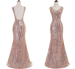 Wholesale Deco Stunning - For Sale Rose Gold Mermaid Prom Dresses Stunning Sequin V Neck Backless Formal Evening Dresses Real Photo Prom Party Dresses 2017 Hot