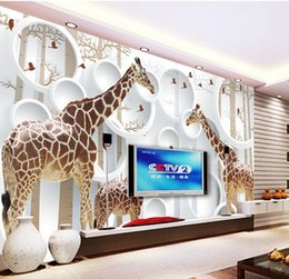 Wholesale Unique Chinese - Unique 3D View Giraffe Photo Wallpaper Cute Animal Wall Mural Art Wall Decor Paper Children's room Nursery Living Room Office Free Shipping