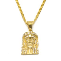 Wholesale Jesus Head Jewelry - New Stainless Steel Gold Color Bling Bling Rhinestone Crystal Jesus Head Face Pendant Necklaces Chain Fashion Punk Jewelry