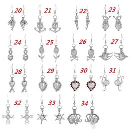 Wholesale locket chandelier - 2017 Love Wish Pearl Cages Locket Earrings Freshwater Pearls Oyster Pendant Earrings (Excluding Pearl Canned)Hollow Out Dangle Earrings