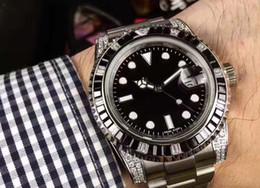 Wholesale Gem Quality Diamonds - latest version 116610 Asia 2813 movement black dial 40mm crystal diamond bezel watchcase Set auger High quality automatic men's watch