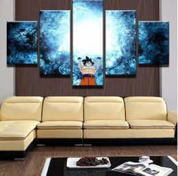 Wholesale dragon sheets - Canvas HD Print Painting Frame Pictures Home Decor 5 Panel Dragon Balls Cartoon Characters Poster For Kids Room
