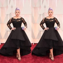 Wholesale gray high low prom dresses - 2017 Plus Size Long Formal Evening Dresses Oscar Kelly Osbourne Celebrity Black Lace High Low Red Carpet Dresses Ruffles Prom Party Gowns