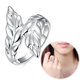 Wholesale Cheap Jewelry Feathers - Wholesale 925 Jewelry Silver Plated Ring Silver Fashion Jewelry Leather Ring Ring Opened Adjustable Size Feather Charm Fashion Cheap Jewelry