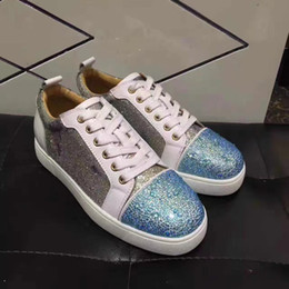 Wholesale Glitter Fabric Wedding Dresses - Perfect!! High Quality Low Top Sneakers Shoes Glitter Leather Casual Fashion Red Bottom Lou Junior Strass Luxury Party Wedding Dress