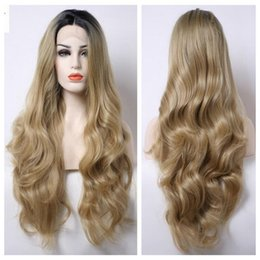 Wholesale Layered Black Wig - Natural Hairline Long Wave Bouncy Layered Ombre #27 Blonde Short Black Roots Body Wave Heat Resistant Synthetic Hair Lace Front Wigs