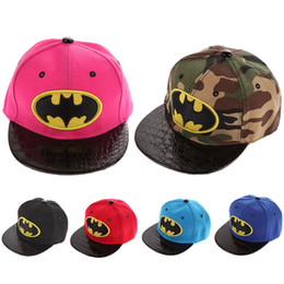 Wholesale Boys Batman Baseball Cap - Kids Cartoon Casquette Flat Snapback Batman Cap Children Embroidery Cotton Baseball Cap Baby Boys and Girls Hip-Hop Hats