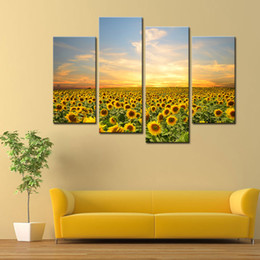 Wholesale Wall Art Wooden - 4 Panels Sunflowers Canvas Paintings Landscape Pictures Paintings on Canvas Flower Wall Art for Home Decoration with Wooden Framed