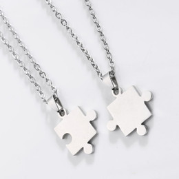 Wholesale Puzzle Steel - Free shipping New Fashion Men'S Women'S Couple Lovers Stainless Steel Love Jewelry Heart Puzzle Necklaces & Pendants