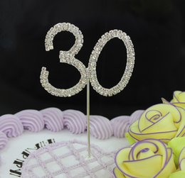 Wholesale Diamante Cake Toppers - Wholesale- HOT FREE SHIPPING 1 PIECE Rhinestone Cake Topper Wedding Birthday Crystal Diamante Party Festive Events Supplies