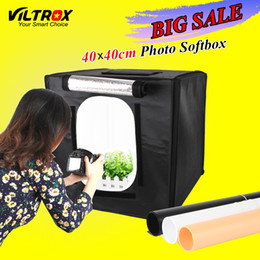 Wholesale Photo Adapter - Wholesale- Viltrox 40*40cm LED Photo Studio Softbox Shooting Light Tent Soft Box + Portable Bag + AC Adapter for Jewelry Toys Shooting