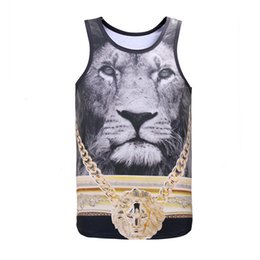 Wholesale Men Wearing Boys Clothes - Summer 3D Print Vest Honorable Lion Vest King of Lions T Shirt Men&gus&boy Tank Tops Casual Male Outdoors Clothing GYM Athletic Fitness Wear