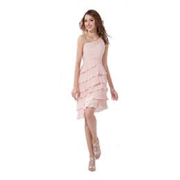 Wholesale Pictures Pretty Black Women - One Shoulder Ladies Pink Dress Short Length Party Wear Pretty Women 2017 Summer Collection Fashion Dress