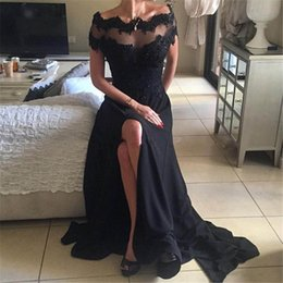 Wholesale Hot Pink Split Dress - Hot Sell Dresses Evening Wear 2017 Sexy Beaded Lace Applique Off Shoulder Short Sleeve Black A-Line High Side Split Formal Prom Dress Long