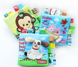 Wholesale Children Cloth Books - Children Education Toys Exquisite Embroidery Cartoon Cloth Book 3 Design Buddy Dog's Busy Day Oodles of Fun