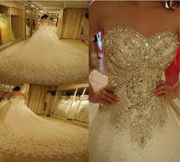 Wholesale Big White Train Dresses - 2018 Luxury Crystal Beaded Sweetheart Big Train Wedding Dress Lace Up Custom-made Plus Size Wedding Gown Vestido De Noiva