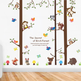 Wholesale tree decals for kids rooms - Cartoon Animals on Big Tree Wall Stickers The secret of Forest Wallpaper Poster Art Kids Room Nursery Wallpaper Poster Home Decoration Decal