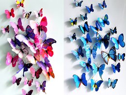 Wholesale Sticker Magnets - Best price 12pcs set PVC Magnet 3D Butterfly Wall Sticker Decals Home Decor Poster For Kids Rooms Art Stickers 100set