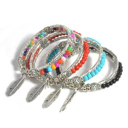 Wholesale Red Turquoise Jewellery - Beaded Bracelet Jewelry for Women Silver Plated Alloy Pendants Bracelet Turquoise Bead Bracelets DIY Fashion Jewellery