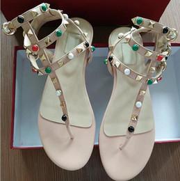 Wholesale Purple Spiked Heels - Zapatos Mujer Color Rivets Spiked Gladiator Flat Sandals Stones Studded Flip Sandal Big Size Designer Women's Cheap Shoes Summer Flipflop