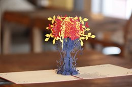 Wholesale Thanks For Birthday Gifts - Thank You Cards Postcard with Envelopes 3D pop up Paper Laser Cut Birthday greeting card Valentines Day gift for lover Flowerpot