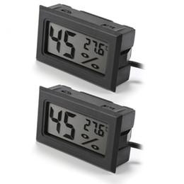 Humedad del higrómetro del termómetro lcd digital online-Mini 2in1 LCD Display termómetro digital higrómetro con 1.5M sonda de cable temperatura humedad medidor negro BI701-SZ