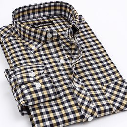 Wholesale Dress Shirt For Men Oxford - Wholesale- Mens Classic Style Fashion Clothing Men's Oxford Dress Shirts Men Non-Iron Brand Plaid Shirt Business Casual Shirt For Men
