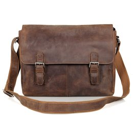 Wholesale Cotton Sling Bags - Wholesale- JMD Vintage Genuine Crazy Horse Leather Men's Messenger Bag Man Shoulder Sling Bag 15 inch laptops Bag 6002LR-2