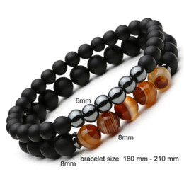 Wholesale Beads Bracelet Mens Black - 2pcs set Men Woman Bead Bracelet Beaded Black Mantra Prayer Agate Beads Buddha Bracelet for Women and Mens Pulseras Masculina