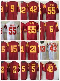 Wholesale Bush Men - cheap nova USC Trojans 55 Junior Seau 2 Robert Woods 9 JuJu Smith 5 Reggie Bush 43 Troy Polamalu 9 JuJu Smith men college sports jerseys